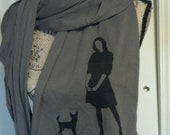Chihuahua Scarf, A Girl and Her Dog Silhouette Screen Printed Original, army green, rat terrier