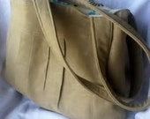 SALE Large Pleated Khaki Linen Shoulder Bag/Handbag/Purse/Handmade