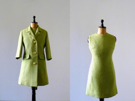 Vintage 1960s Mod green wool coat and mini dress set