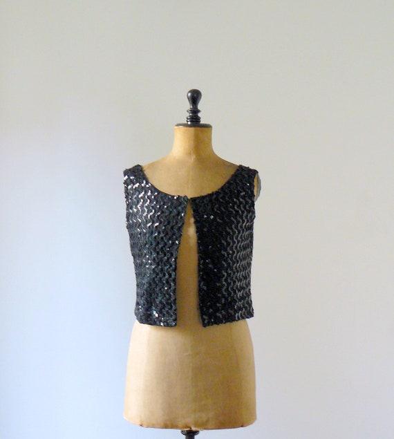 RESERVED / Vintage 1960s black sequin vest. sequin tank top