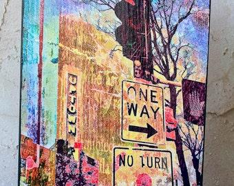 Uptown Minneapolis, digital photo on 9x12  wood panel, contemporary fine art photo, wall art, home decor, office art
