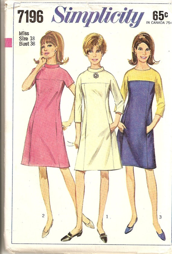 Vintage 60s Misses Simplicity 7196 Sewing Pattern, Flattering DRESS in 3 Classy Variations, size 18, bust 38