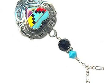 Zuni-style sterling silver heart gemstone inlay chain necklace Austrian Swarovski crystal