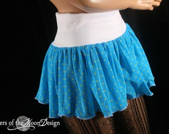 Polk a dot micro mini skirt Adult tutu topper circle turquoise neon roller derby gogo cyber dance -Ready to Ship -Small- SistersEnchanted