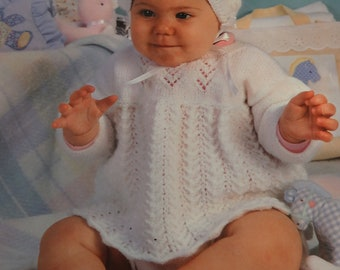 KNITTED CHRISTENING OUTFIT : Baby girl, Size 6 to 12 months, White dress,  hat and booties, hand knitted,  lacey stitch