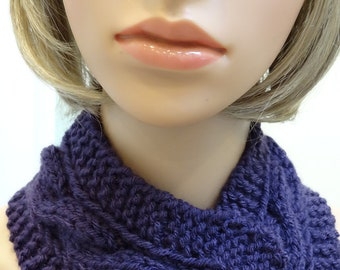 Purple headband /neckwarmer, hand knitted in a cable stitch,with a button closure