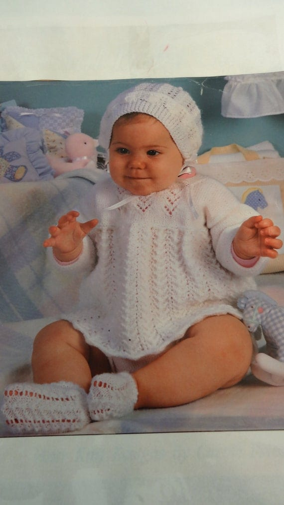 KNITTED CHRISTENING OUTFIT : Baby girl, White dress,  hat and booties, hand knitted,  lacey stitch