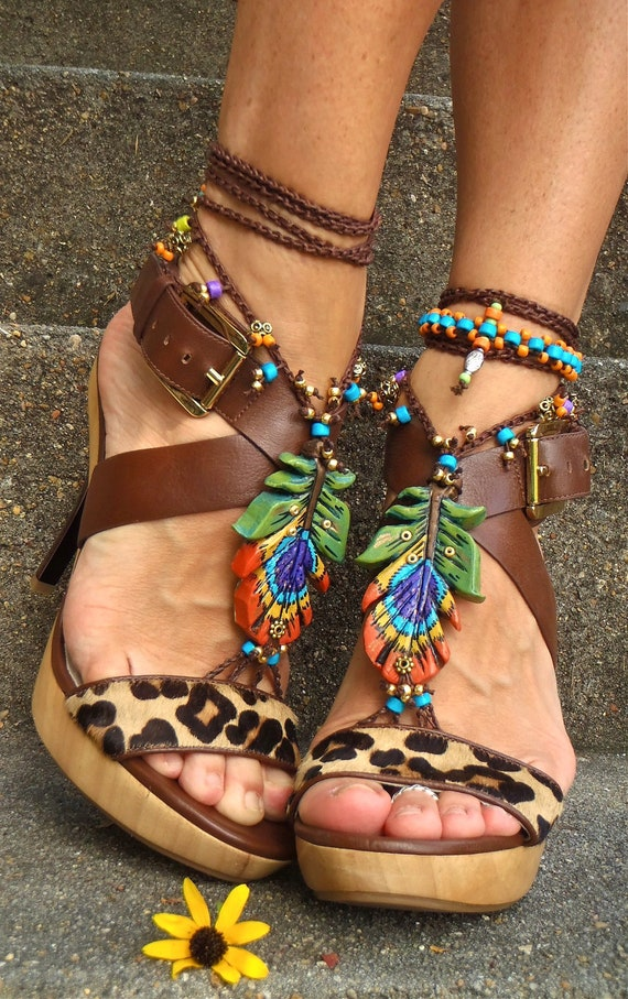 new PEACOCK FEATHER barefoot Sandals Oriental jewelry crochet Slave Anklets festival hippie hula hooping belly dance yoga