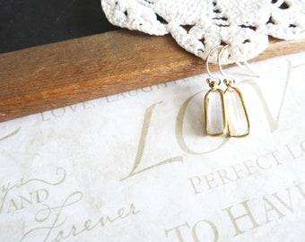 OBLONG brass set crystal dangle earrings