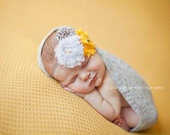 Yellow Warbler- chiffon and rosette headband