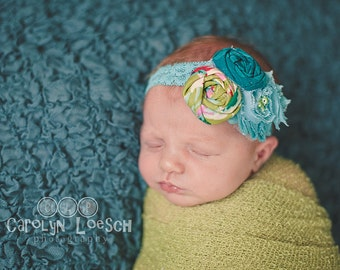 Teal Me A Secret-  double rosette and chiffon flower headband