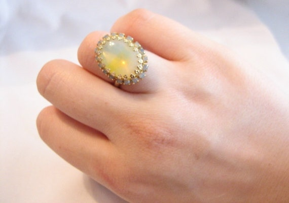 Vintage Faux Opal and Rhinestone Cocktail Ring - Adjustable - Costume Jewelry