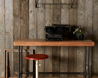 Rustic Desk made with reclaimed wood and pipe legs. Choose size, thickness  and finish