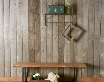"Farmhouse Wood and Steel Bench with square steel legs (1.65"" Standard Top, 36""L x 11.5""w x 18""h)"