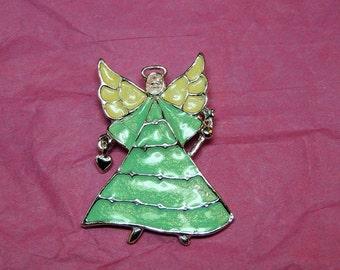 Christmas Brooch, Angel Brooch, Vintage Jewelry