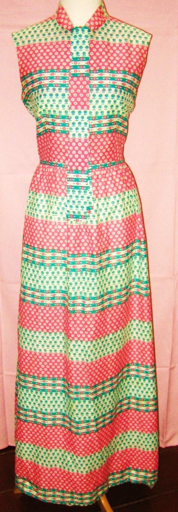 Vintage-70s-Maxi Dress-Pink-Blue-White-Sleeveless Maxi Dress-Silk Maxi Dress-M-L