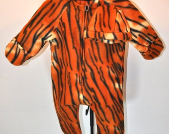 Tiger print Baby Bunting with hat fleece infant outerwear