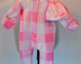 Pink Buffalo Check Baby Bunting with hat fleece outerwear