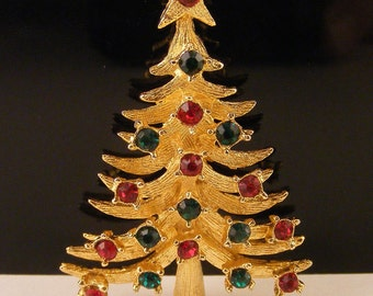 Vintage Christmas Tree Brooch Mylu Pin Rhinestone