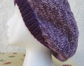 Women's Slouchy Beret Tam in Eggplant/Purple Mist (Purple) READY TO SHIP