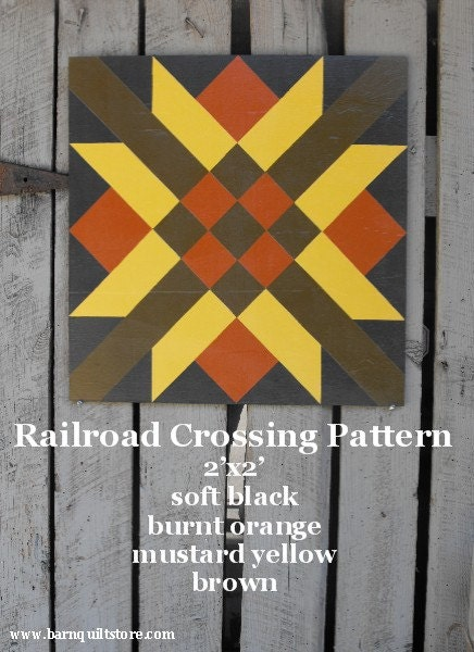Painted Wood Barn Quilt Railroad Crossing Pattern