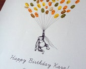 Monkey with Balloons, the original guest book thumbprint balloon art (ink pads available separately)