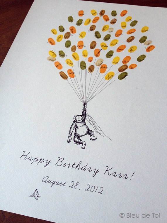 Monkey With Balloons The Original Guest Book Thumbprint