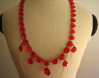 Vintage Cherry Red Crystal Dangle 1930's Silver Tone Metal Necklace  .....2291
