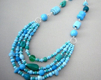 Aqua Blue Necklace, Bib Necklace Statement Jewelry, Layered Bead Necklace, Chunky Turquoise Necklace
