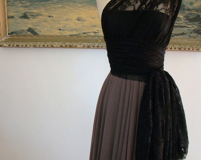Black Lace with Driftwood Mocha Chiffon-Convertible Wrap Dress-Octopus Infinity Dress- Bridesmaids