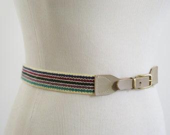Vintage Skinny Belt, Striped Belt, Preppy Belt, Elastic Belt, Multi Colored Belt with Taupe Leather, 80s Belt, Small Waist 25 26