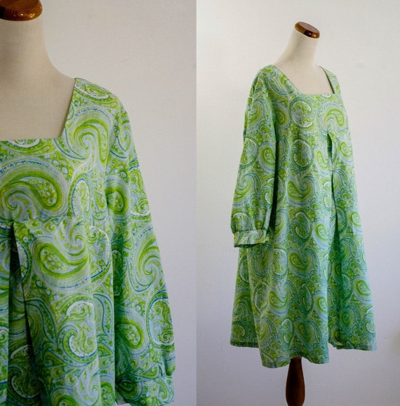 Vintage Paisley Psychedelic Dress -- Green and Blue Tent Dress -- XXL Plus Size