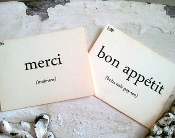 French Flashcards, French Words, French Home Decor, Scrapbooking, Small Embellishment, Set of 12