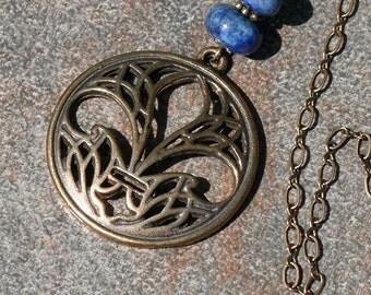 Fleur De Lis Necklace, Blue Necklace, Lapis Lazuli Necklace, Natural Stone Necklace, Bronze Pendant, Brass, Handmade Necklace