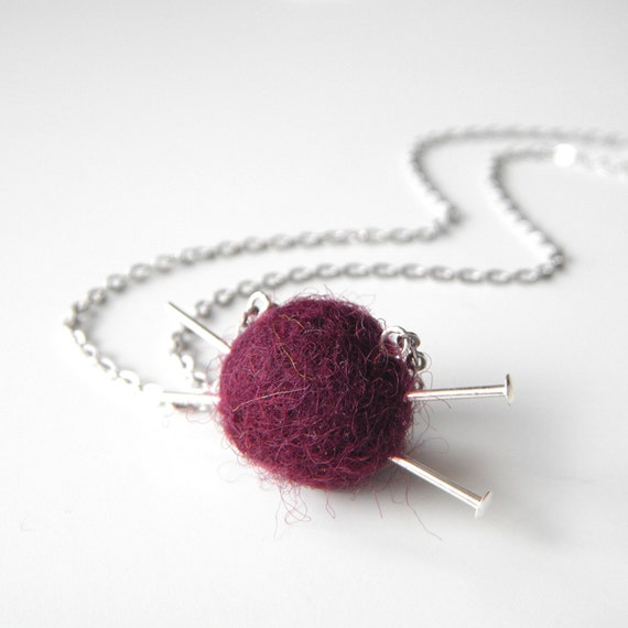 Gifts for Knitters - Small Felt Ball Necklace with Knitting Needles, Burgundy Yarn Ball and Needles Necklace - 'Love to Knit'