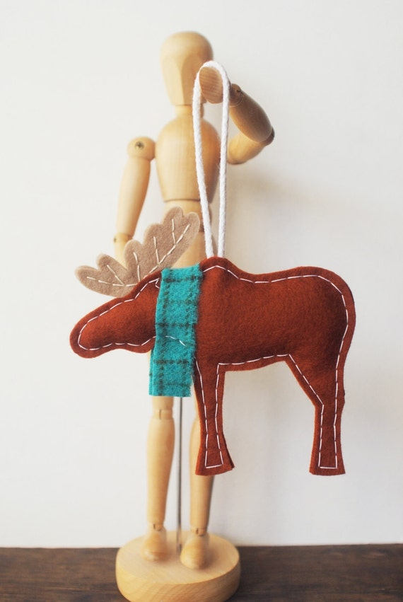 Wool Moose Ornament - Cute Woodland Animal with Turquoise Scarf - Christmas Felt Ornament