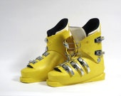Vintage Ski Boots, Bright Yellow, 1980's, Molded Plastic, Metal Bindings, Made in Italy