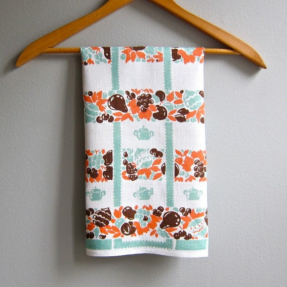 Vintage Linen Kitchen Towel with Teapots and Fruit in Jadite Green Orange Brown