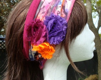 Womens Comfortable Headband Head wrap Hat band Bohemian Flapper Wide Head band with flowers