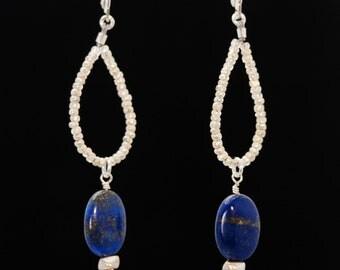 SPARKLING SKY Lapis Lazuli teardrop hoop earrings (Lapis Lazuli, Tin Beads, Sterling Silver lever backs and findings)