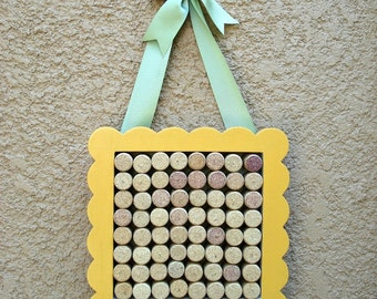 Wine Cork Message Board - yellow scalloped edges - green satin ribbon