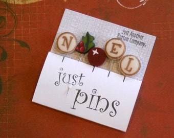 WINTER PINS. N is for Noel.  Perfect for Decorating Ornaments & Pin Cushions.