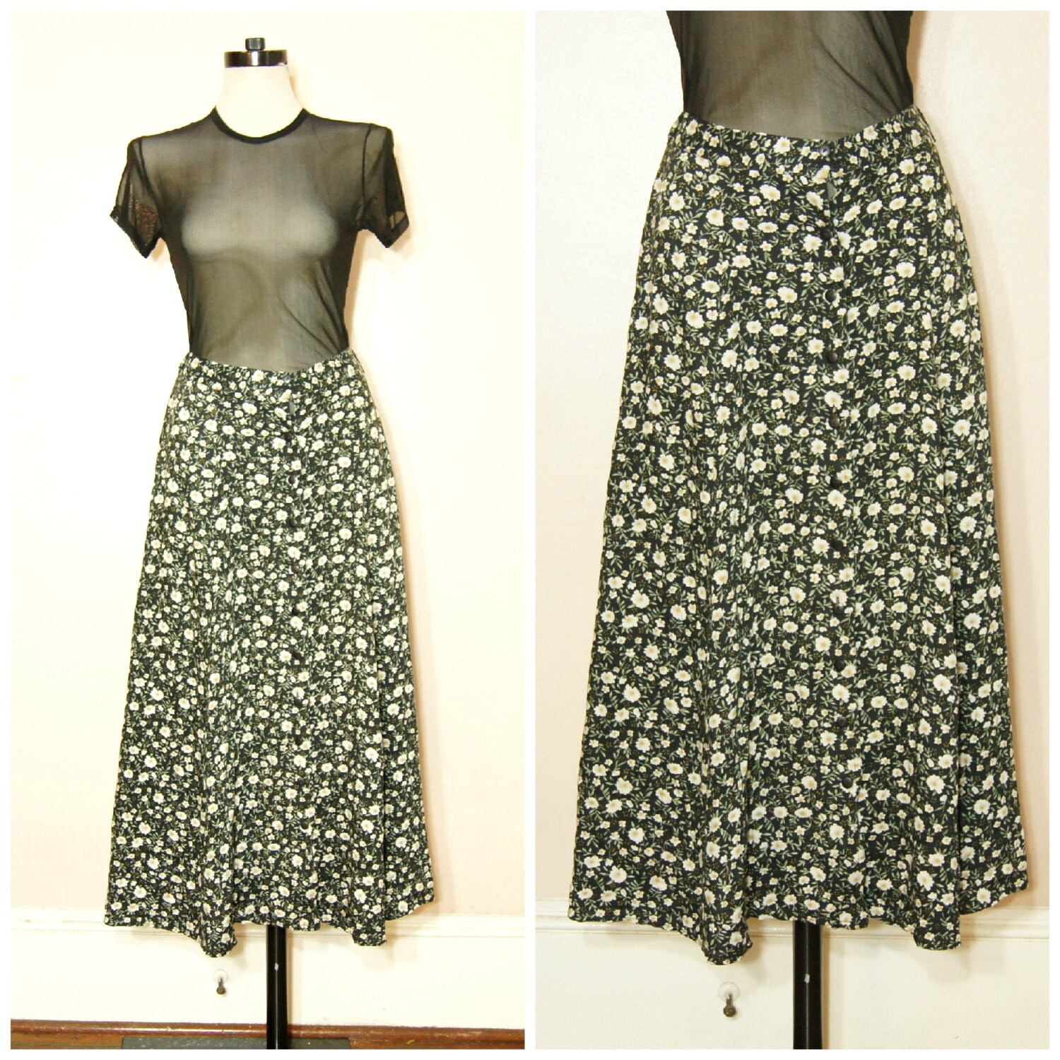 90s floral maxi skirt grunge medium large by