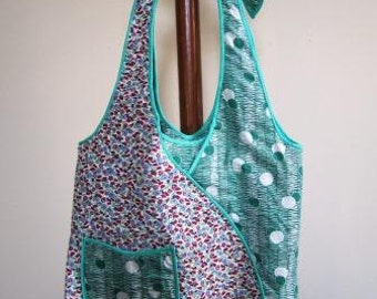 Hobo Bag Vintage Feed Sack Thirties Retro Purse Tote Floral Polka Dot Green Red - Size Large