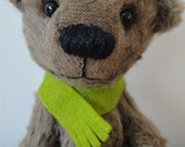 Fred, little artist bear with green scarf, fall theme