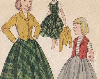 Vintage Sewing Pattern 1950s Girls Skirt Weskit Jacket Jumper Size 8