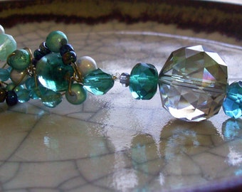 Blue Jewel - Wire and Beaded Cluster Suncatcher/Ornament