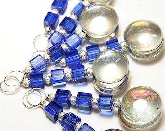 Glass Bubble Suncatcher, Christmas Ornament, Cobalt Blue Cubes, Pick Colors, Sterling Silver Stardust Beads, Car Charm, Window Charm