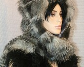 Steel Grey Day LUXE Feather Fur Hoodie Hat