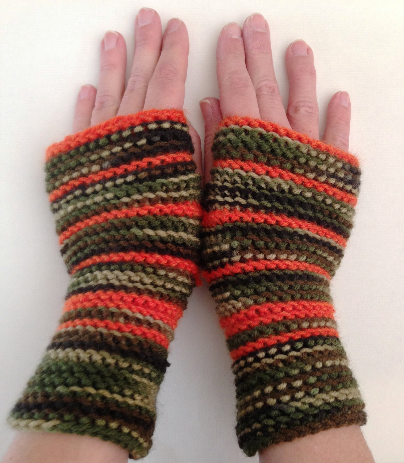 Knitting Pattern For Hunting Mittens : Fingerless gloves hand knitted Camouflage/fatigue with